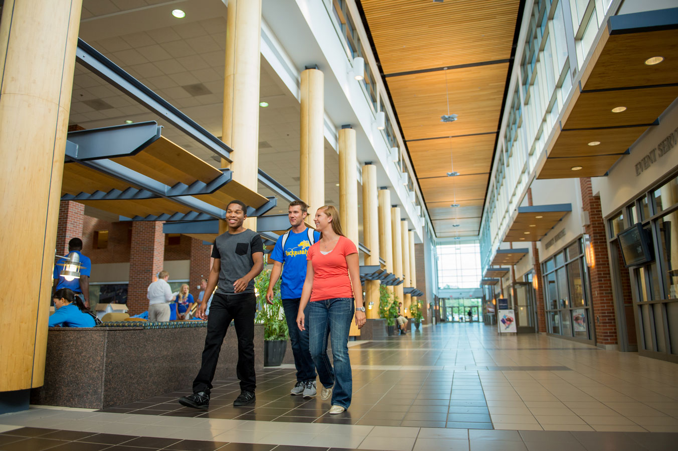 Students walking through the University Student Union