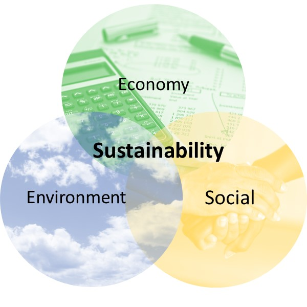 Three overlapping circles that represent the three pillars of sustainability (economic, social, & environmental) and how sustainability comes from achieving all three.
