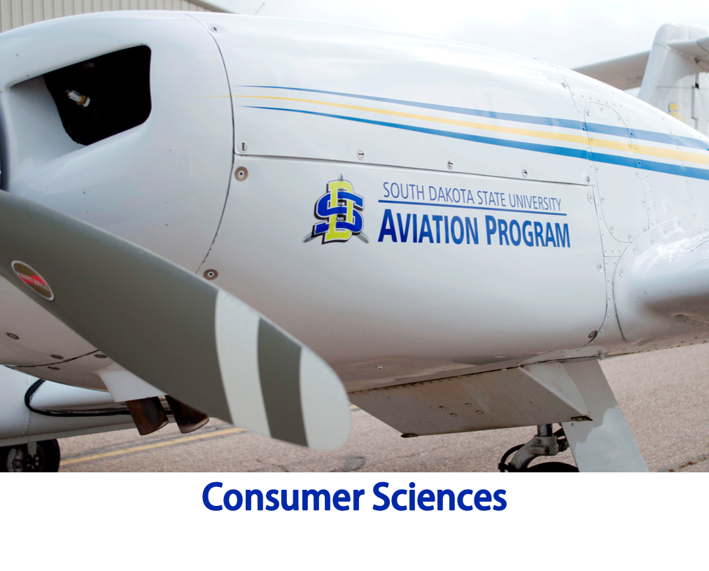 Photo of the side of an airplane with a South Dakota State University Aviation Program logo