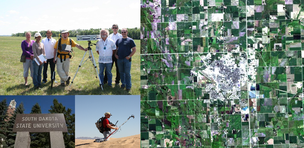 The SDSU IP Lab Staff perform vicarious calibration in Brookings at the top and in California in the bottom middle picture. The left hand image is an aerial view of Brookings.
