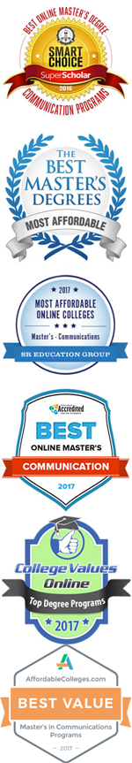 Six 2017 Master Mass Communication Awards badges from Smart Choice, Most Affordable, SR Education Group, Accredited, College Vlues Online, and AffordableColleges.com