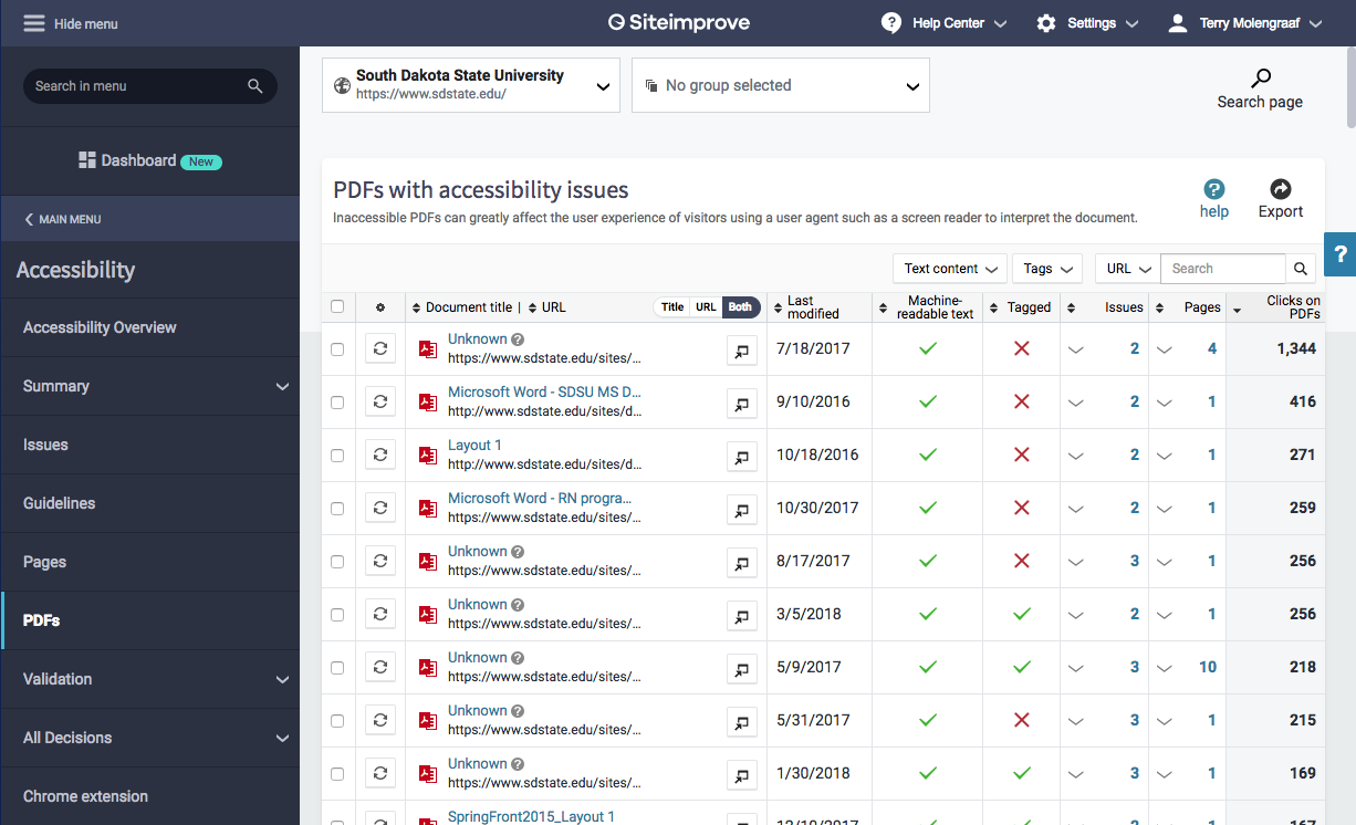 Screenshot of Siteimprove's PDF issues list