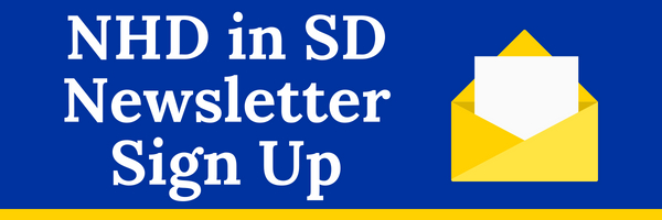 NHD in SD Newsletter Sign Up Button. Image of a letter in an envelope.