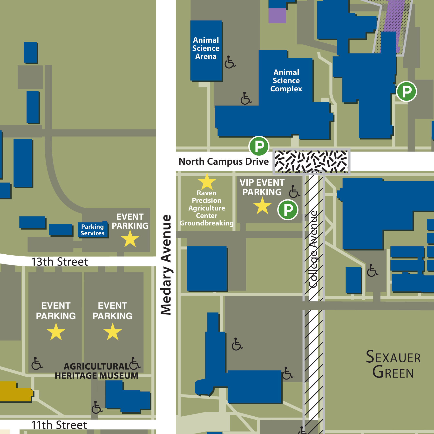 Parking map for the groundbreaking