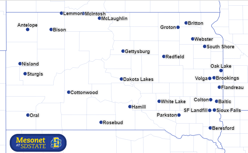 South Dakota Mesonet weather and soil station locations