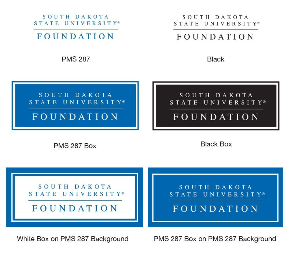 6 different variations of the South Dakota State University Foundation logo. (PMS 287, Black, PMS 287 Box, Black Box, White Box on PMS 237 Background, PMS 287 Box on PMS 287 Background)