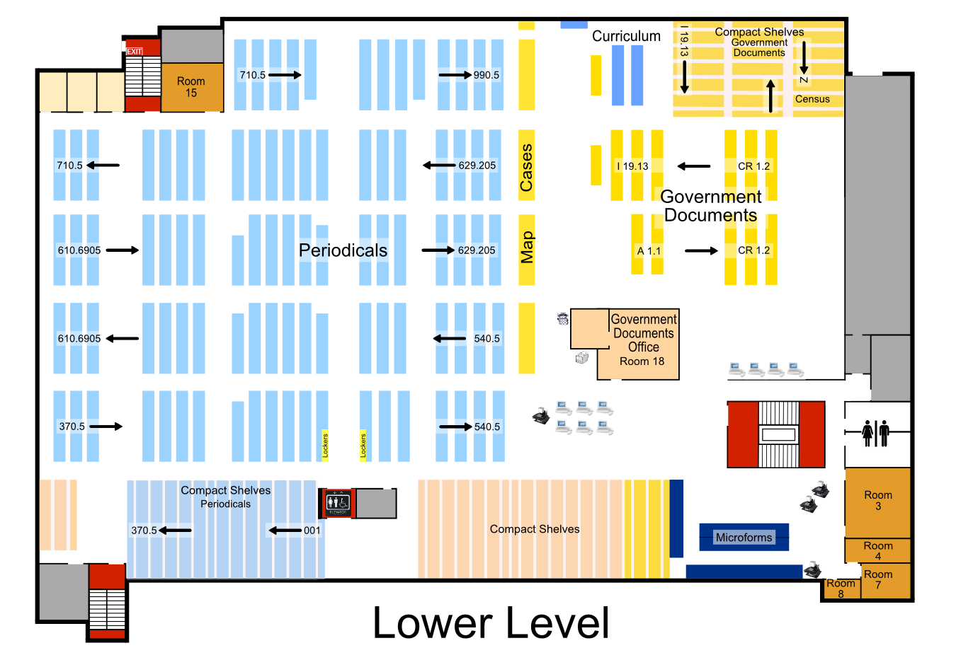 Map of the Lower Level of Briggs Library