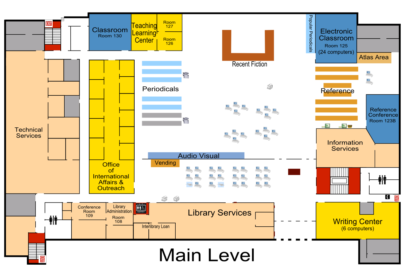 Map of the Main Level of Briggs Library