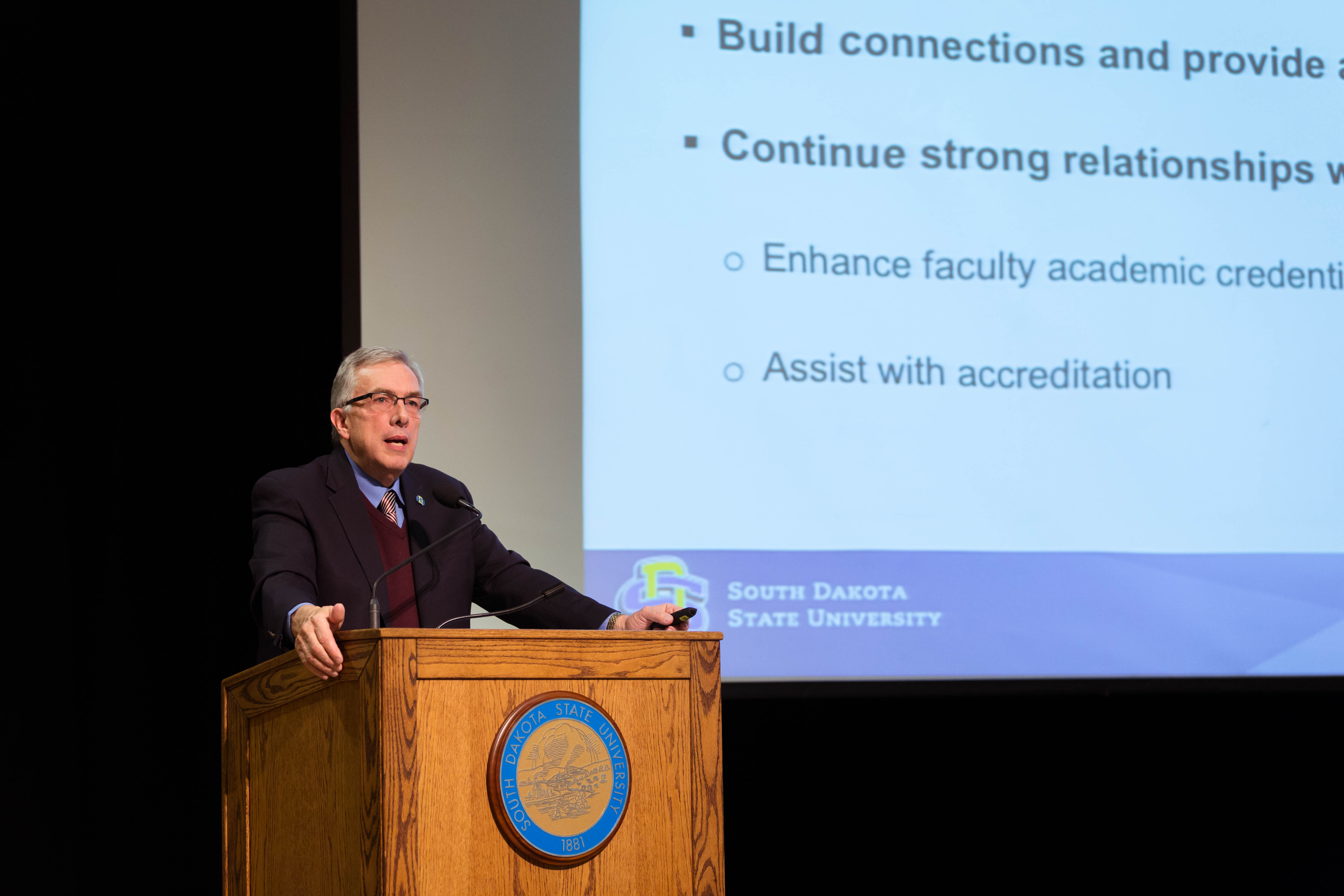 President Barry H. Dunn presents the State of the University to a gathering of campus and community members.
