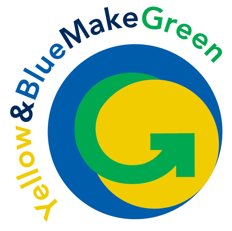University sustainability logo. The text Yellow & Blue Make Green is wrapping the a circle with a blue outer ring and yellow center and a green middle ring that moves into an arrow like a recycling symbol.