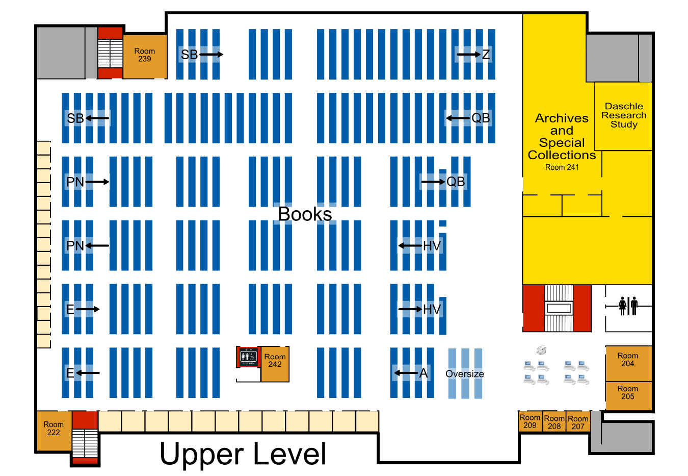 Map of the Upper Level of Briggs Library