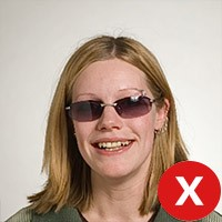Unacceptable Format: Person wearing sun glasses