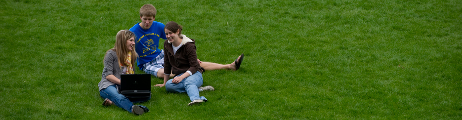 Three students work on a laptop on the grass.
