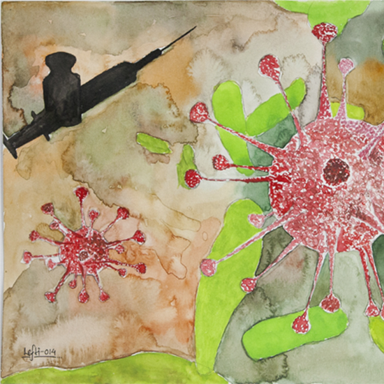 Painting of the HIV virus