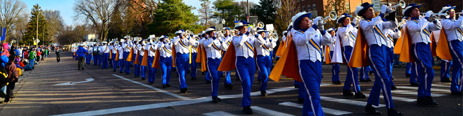 The Pride of the Dakotas marches during the Hobo Day Parade.