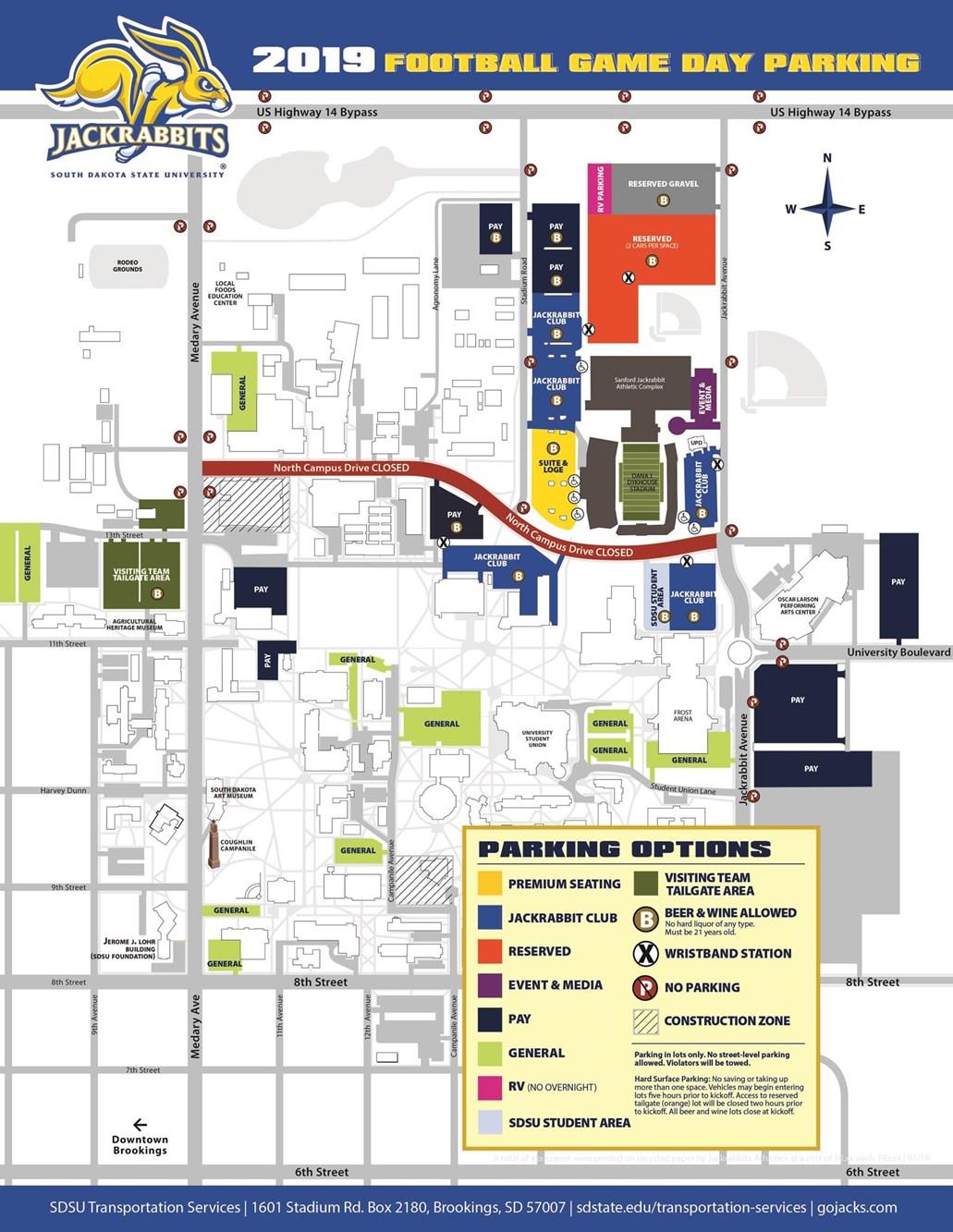 sd state campus map Student Tailgating Information South Dakota State University
