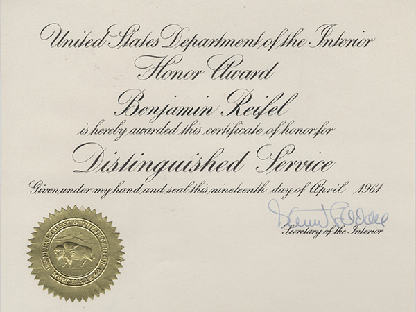 1961 Department of the Interior's Distinguished Service Award