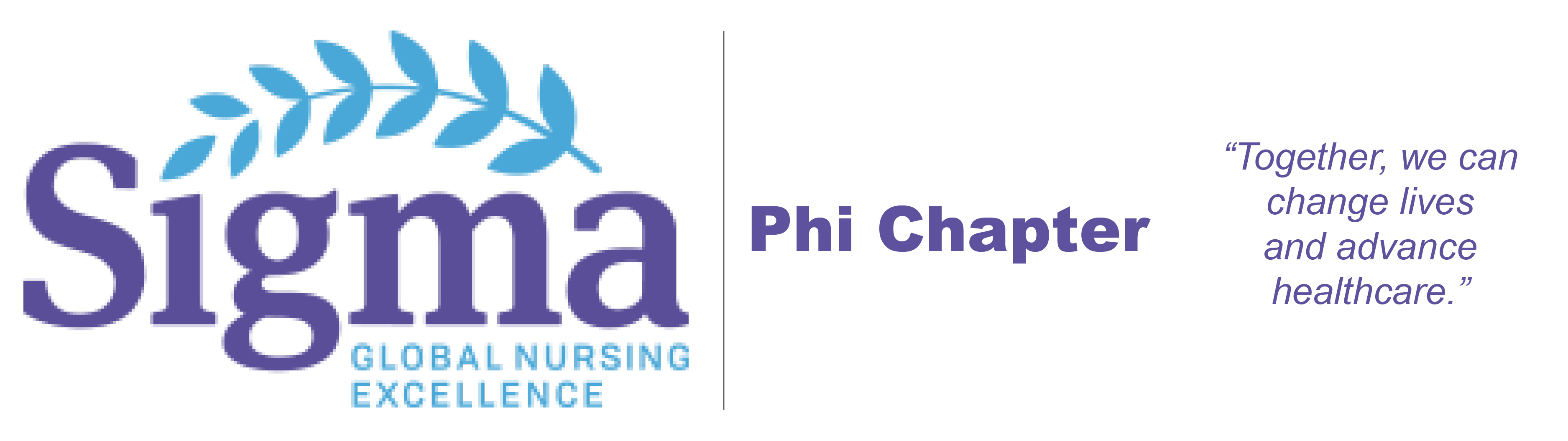 "Sigma Theta Tau Phi Chapter logo with quote ""Together, we can change lives and advance healthcare."""