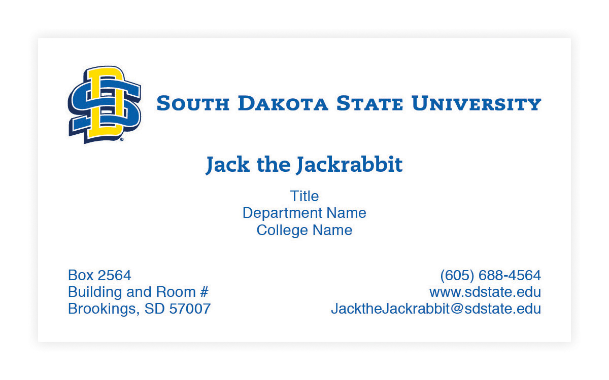 South Dakota State University Official Business Cards