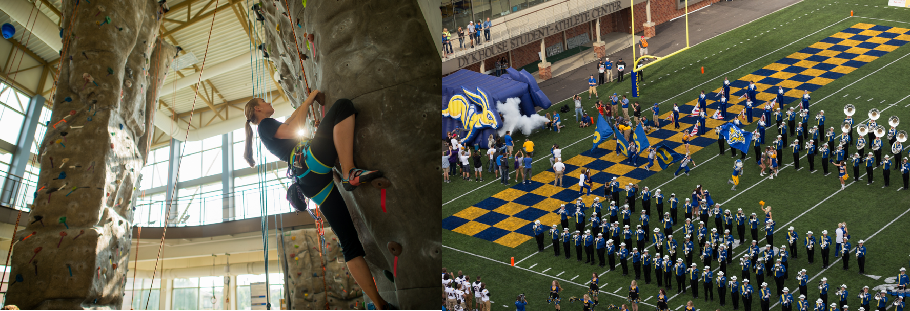 Person rock-climbing and picture of stadium with fans.