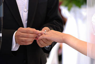 groom slips ring on bride's finger