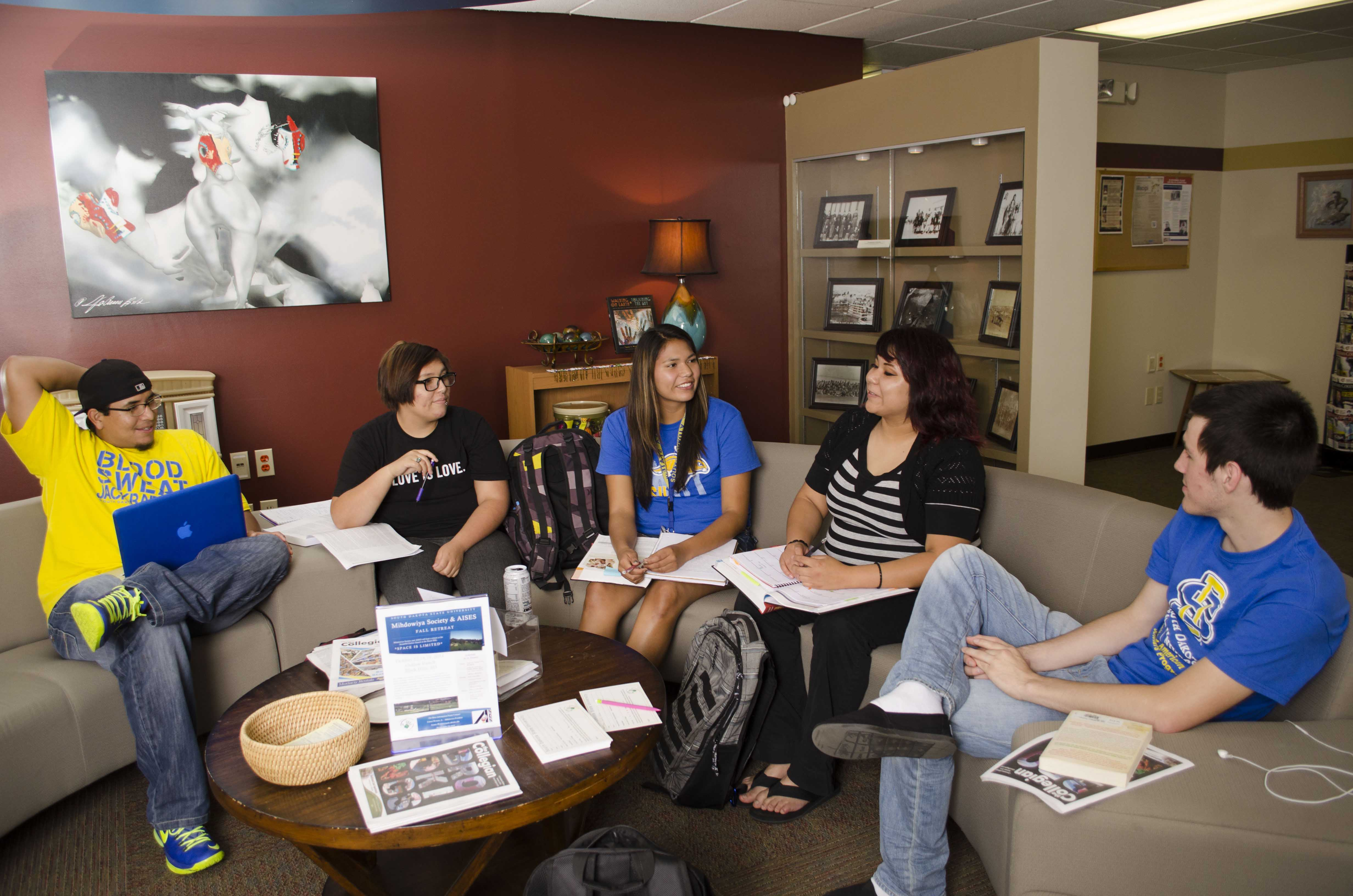 American Indian students study at the American Indian Education Center