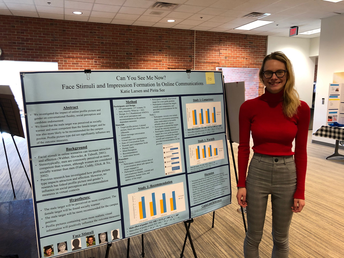 Katie Larsen, WGSS minor, presents her WMST 491: Independent Study research at the annual EXPL Expo in November 2019.