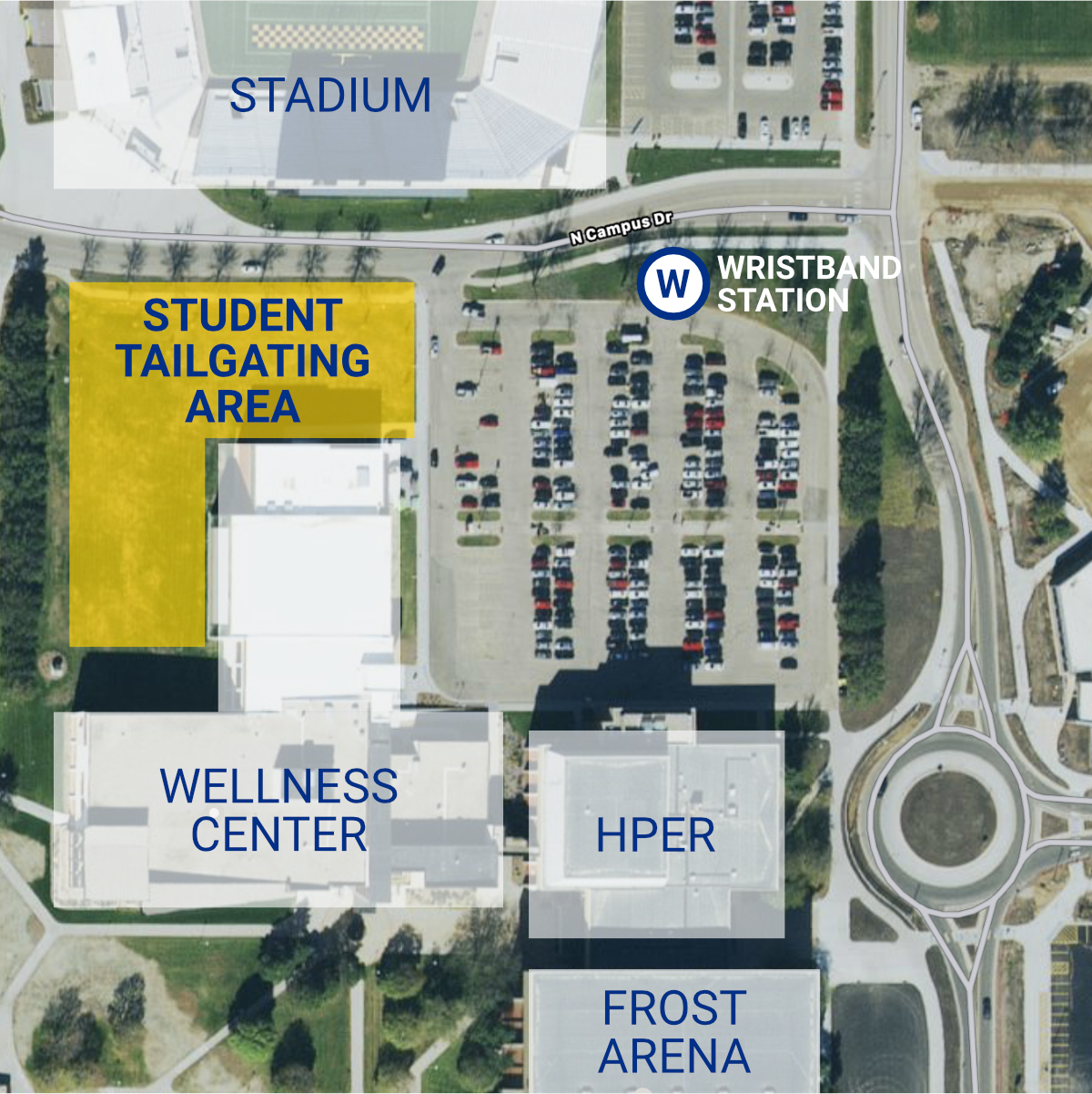 Map of the student tailgating area for SDSU Jackrabbits home football games