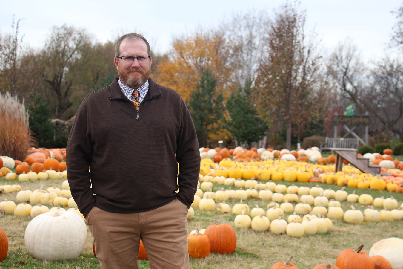 Local Foods Education Center Director Brett Owens with pumpkins