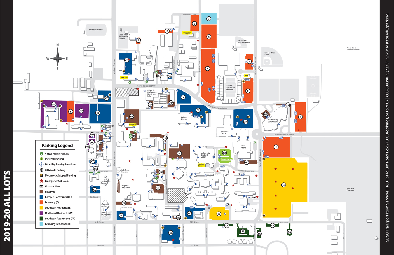 university of south dakota campus map Parking Maps South Dakota State University university of south dakota campus map