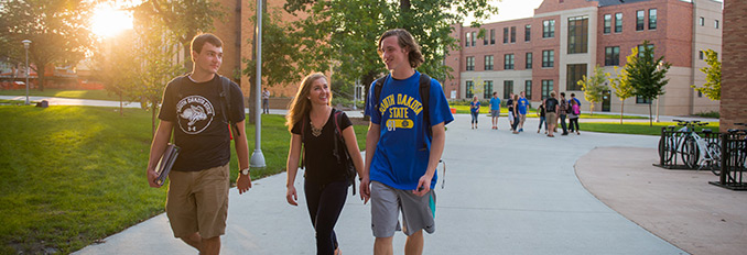 Students taking a walk through campus