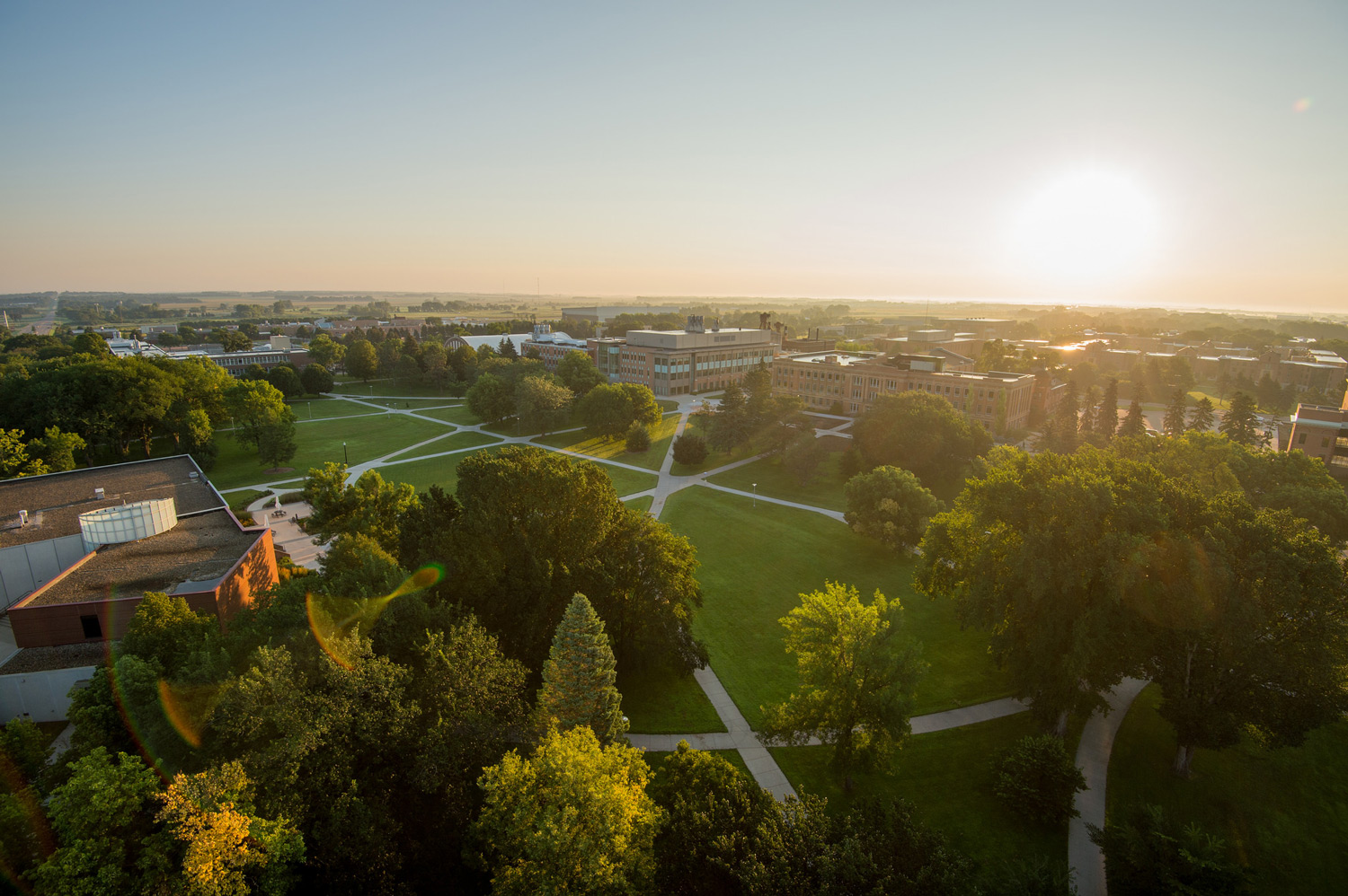 The view of the South Dakota State University campus from the top of the SDSU Coughlin Campanile.
