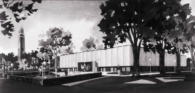 Architect's line drawing for the proposed South Dakota Memorial Art Center of the campus of South Dakota State University Date	 1966-04-04