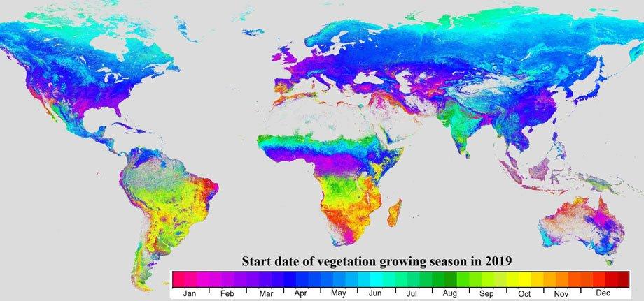 Start of global growing season in 2019