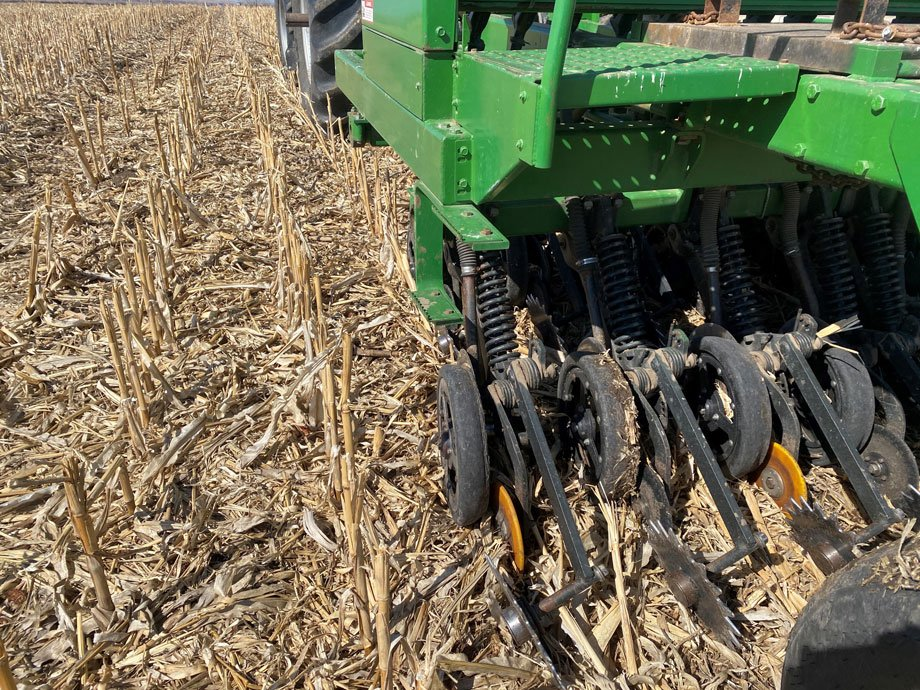 seeding with a no-till drill into corn stubbles