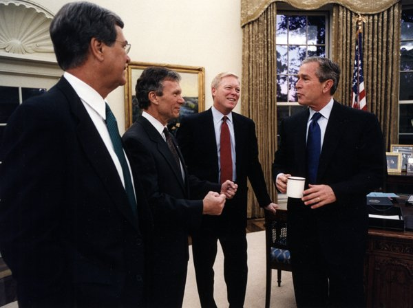 Senate party leaders Lott and Daschle, House Majority Leader Dick Gephardt, and President George W. Bush, October 10, 2001.