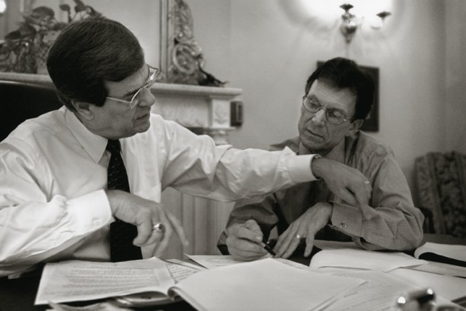 Senator Lott and Senator Daschle work out the details of the divided Senate of the 107th Congress, 2001.