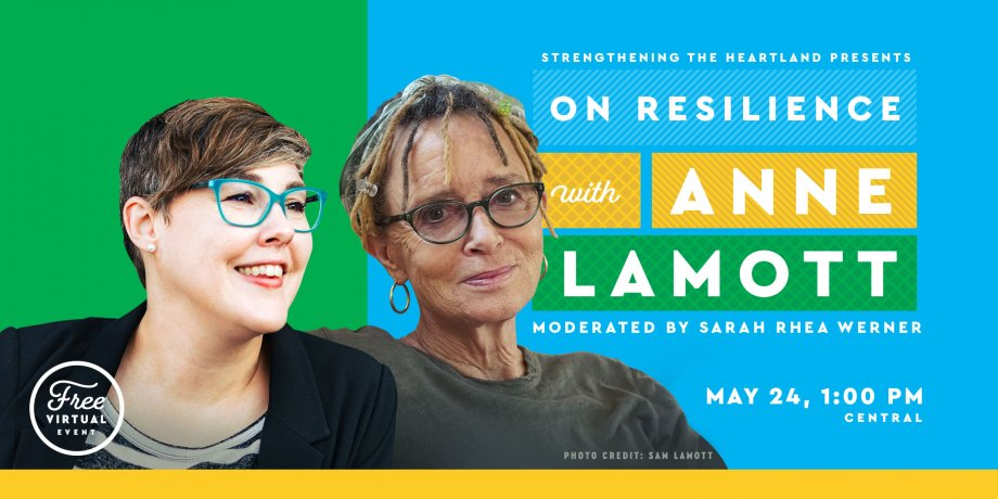 Event Banner with photos of Anne Lamott and Sarah Rhea Werner