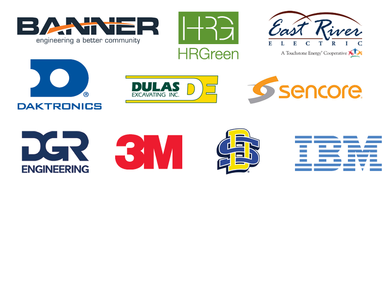 Sponsor logos: Banner, HR Green, East River Electric, Daktronics, Dulas Excavting Inc., Sencore, DGR Engineering, 3M, SDState, IBM.