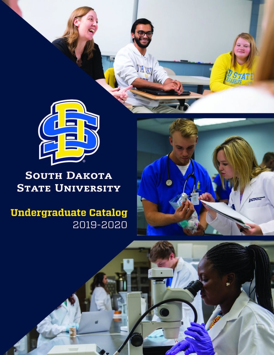 2019-2020 Undergraduate Catalog cover - students in group discussion, pharmacy and nursing students looking at medicine bottle, students in lab looking in microscopes.