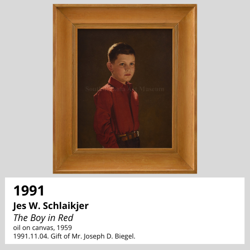 Jes W. Schlaikjer The Boy in Red oil on canvas, 1959 South Dakota Art Museum Collection, 1991.11.04. Gift of Mr. Joseph D. Biegel.