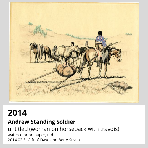Andrew Standing Soldier untitled (woman on horseback with travois) watercolor on paper, n.d. South Dakota Art Museum Collection, 2014.02.3. Gift of Dave and Betty Strain.