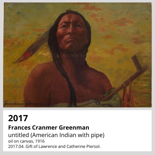 Frances Cranmer Greenman untitled (American Indian with pipe) oil on canvas, 1916 South Dakota Art Museum Collection, 2017.04. Gift of Lawrence and Catherine Piersol.