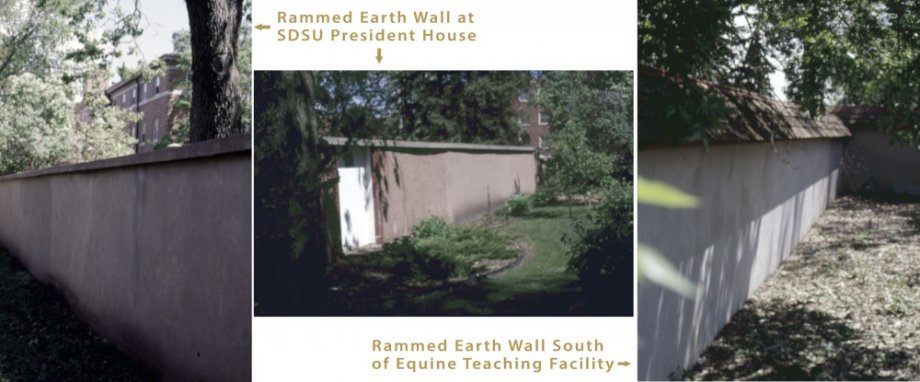 Rammed earth walls surround the President's residence back yard and the area south of the Equine Education Unit.