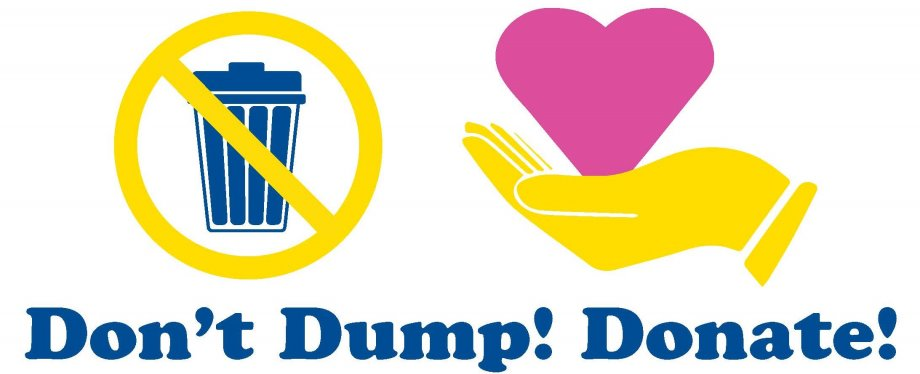 """A trash can with an ""x"" through it and a hand holding a heart. It says ""Don't Dump! Donate!"""""