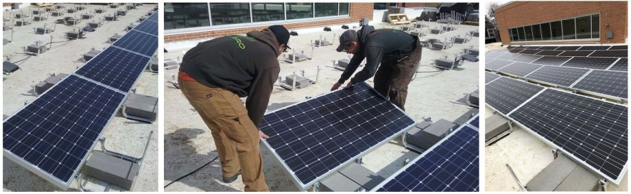 Three pictures of solar panels. One picture has two men putting a solar panel in place.