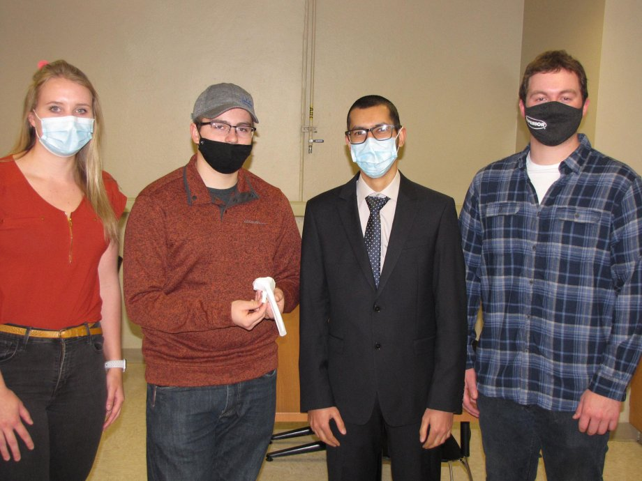 Senior mechanical engineering students at South Dakota State University worked together to produce an artificial bone to be used by nursing students in training them to give intraosseous injections. Pictured, from left, are Ashley Jorgensen, Zachary Dorn, Abbdullah Alrashidi and Denner Dougherty. They undertook the project for SDSU's Mechanical Engineering Department in the Jerome J. Lohr College of Engineering.