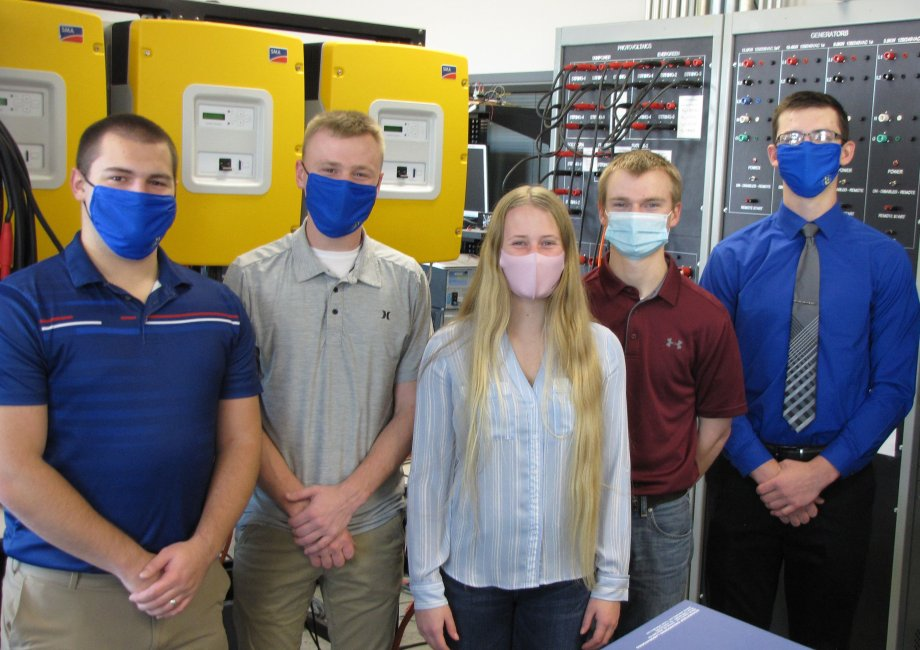 Five SDSU electrical engineering majors earned Power and Energy Systems Scholarships through the Institute of Electrical and Electronics Engineering in 2020-21. Pictured, from left, are Jesse Kreutzfeldt, Kade Griesse, Olivia Corneil, Matt Stoel and Tyler Fogelson.