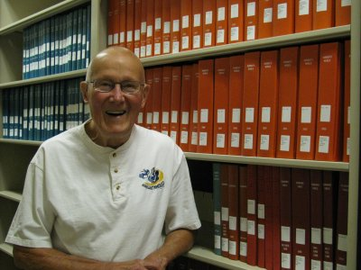 Bob Bartling and the Prairie Striders Library Collection in its new home in the H.M. Briggs Library, 2015