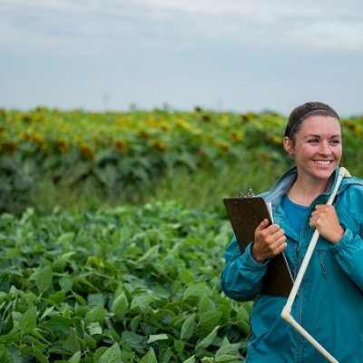 Student in Soybean Field